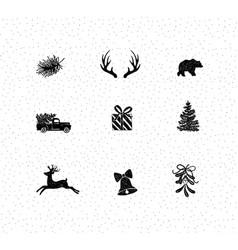 set christmas decorative icons vector image