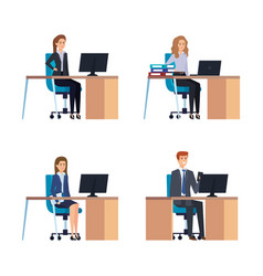 Set executive businesswmen and businessman in the vector