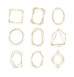 set gold geometrical frame polyhedron line art vector image