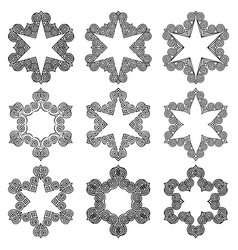 Set of black stars with greek ornament vector