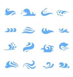set wave symbol on isolated white background vector image