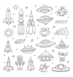 Set with cartoon space objects ufo rockets vector
