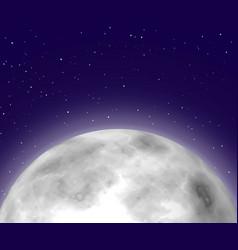 Shining moonrise close-up night background vector