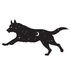 Silhouette wolf with crescent moon and stars vector