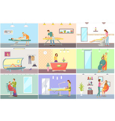 Spa salon pedicure and barber posters set vector
