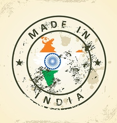 Stamp with map flag of India vector