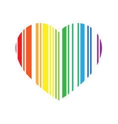 striped heart in rainbow spectrum colors love or vector image