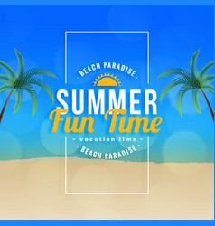 summer fun time beach paradise background vector image