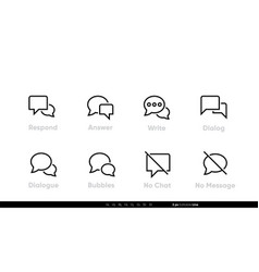 Talk icon line respond answer dialog no chat vector