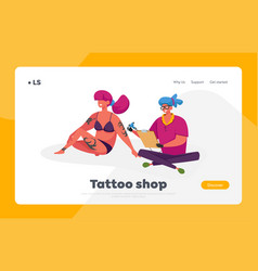 Tattooing art tattoo shop landing page template vector