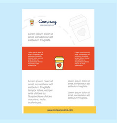 template layout for juice glass comany profile vector image