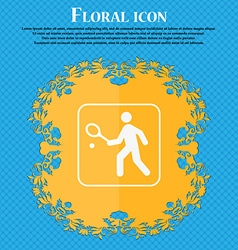 Tennis player icon Floral flat design on a blue vector image