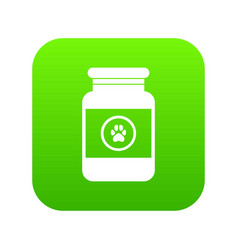 Treatment solution for animals icon digital green vector