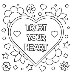 trust your heart coloring page vector image