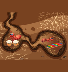 Underground scene with ants playing music vector