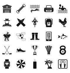 Underwater adventure icons set simple style vector