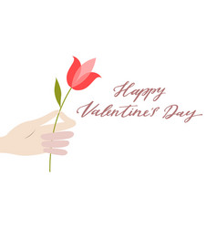 valentine day greeting card in flat style vector image