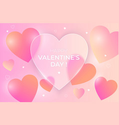 valentines day greeting banner glass morphism vector image