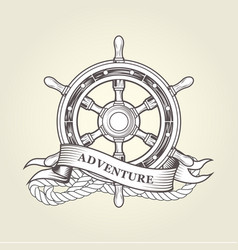 Vintage steering wheel - nautical handwheel emblem vector