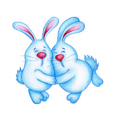 Watercolor of two cute blue easter bunnies vector