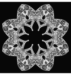 White flower round pattern on black vector