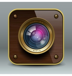 Wooden luxury photo camera icon vector