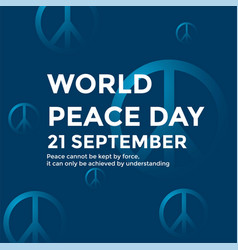 word peace day poster with peace symbol vector image