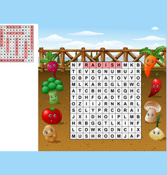 Word search puzzle about vegetables vector