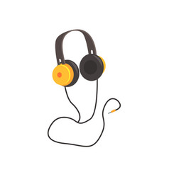 yellow headphones cartoon vector image vector image