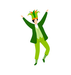 young man in green irish costume and hat vector image
