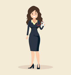 Young smiling woman journalist female reporter vector