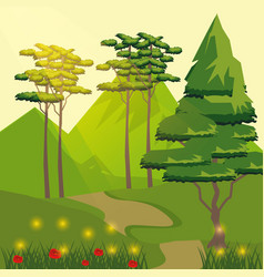 colorful background of road and mountain with vector image