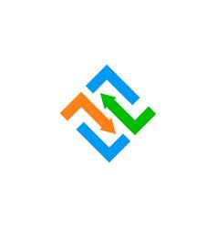 arrow shape square logo vector image vector image