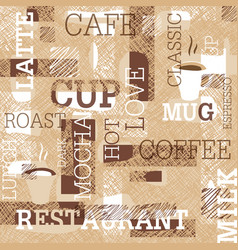 coffee themed seamless pattern words cups of vector image vector image