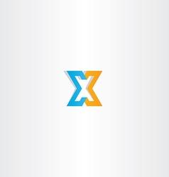 letter x orange blue icon sign vector image vector image
