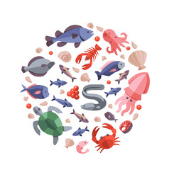 ocean animals seafood and cooking fish flat icons vector image