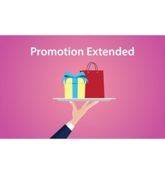 promotion extended with hand give a vector image