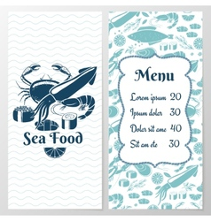 Two Paged Blue Fish Menu with Graphic vector image vector image