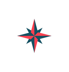 wind rose solid icon navigation and compass vector image