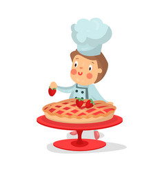 cute cartoon little boy chef character baking vector image