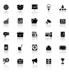 Data and information icons with reflect on white vector image vector image