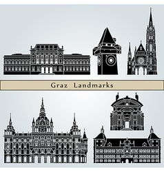 Graz landmarks and monuments vector image