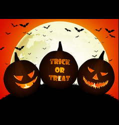halloween pumpkins on the full moon vector image vector image