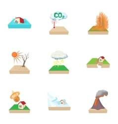 Natural disasters icons set cartoon style vector image vector image