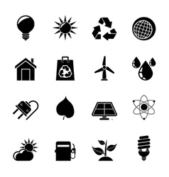 Silhouette Ecology nature and environment Icons vector image vector image