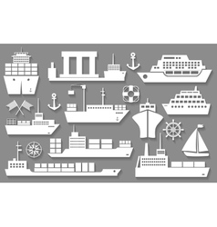 boat and ship icons vector image vector image