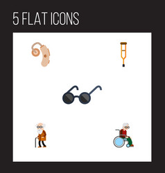 Flat icon cripple set of wheelchair spectacles vector