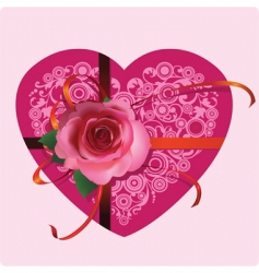 heart with a beautiful rose vector image