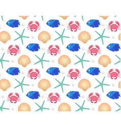 marine seamless pattern cartoon style underwater vector image vector image