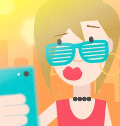 Pretty Young Girl Taking a Selfie Photo vector image